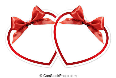 shapes of hearts with red bow isolated on white background