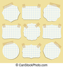 Shapes of note paper with tape. Vector illustration.