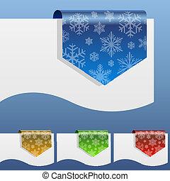 shapes., penchant, hiver, étiquettes, papier, escompte, bord, vide, flocon de neige, autour de