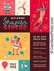 Shapito circus performance promo poster vector flat illustration. Funny clown, strongman, acrobats, trained animals, trapeze artist, and hooper performing show. Announcement with place for text.