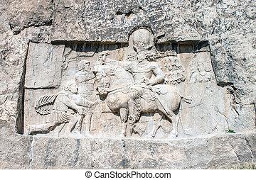 shapur, rustam, naqsh-e, encima, iran., escultura, valeriana...