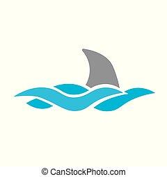 shar, ábra, vektor, tenger, lenget, icon-, uszony