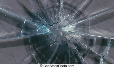 Shards of glass from a bullet shot. Close up - Shards of...