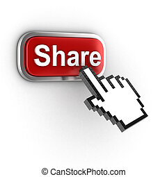 share 3d button - share  button  3d illustration