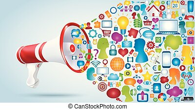 Share and exchange ideas and data. Talk to communicate in the network. Discussion via the web. Message and chat. Megaphone with application icon symbols. Connection between a group of friends