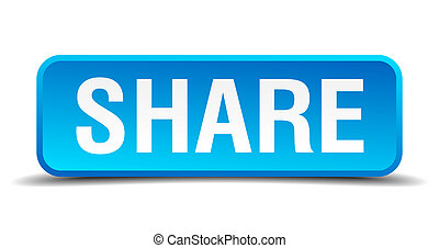 Share blue 3d realistic square isolated button