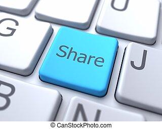 share-blue, botão, ligado, teclado
