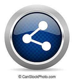 share blue circle glossy web icon on white background, round button for internet and mobile app