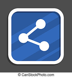 Share blue flat design square web icon