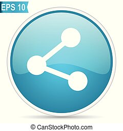 Share blue glossy round vector icon in eps 10. Editable modern design internet button on white background.