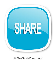 share blue glossy web icon