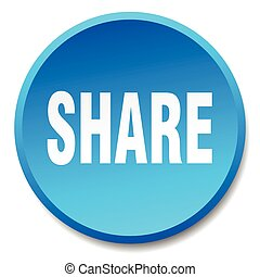 share blue round flat isolated push button