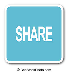 share blue square internet flat design icon