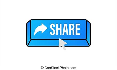 Share button in flat style on blue background. Social media. stock illustration