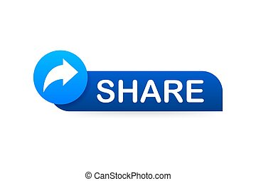Share button in flat style on blue background. Social media. Vector stock illustration.