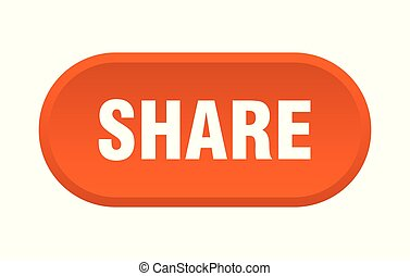 share button. share rounded orange sign. share