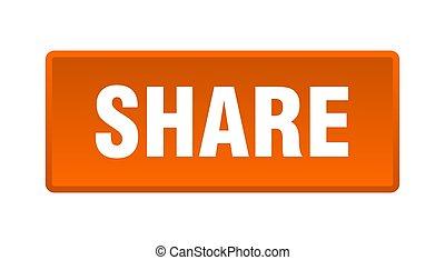 share button. share square orange push button