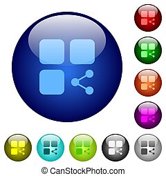 Share component color glass buttons