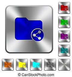 Share directory rounded square steel buttons