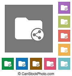 Share directory square flat icons