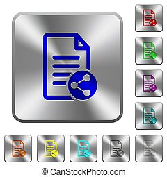 Share document rounded square steel buttons