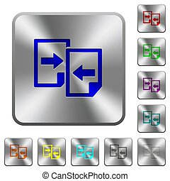 Share documents rounded square steel buttons
