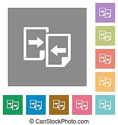 Share documents square flat icons