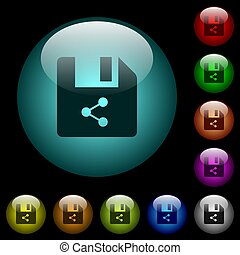 Share file icons in color illuminated glass buttons - Share ...