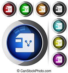 Share file round glossy buttons
