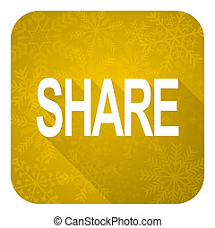 share flat icon, gold christmas button