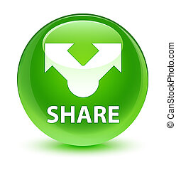 Share glassy green round button