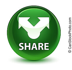 Share glassy soft green round button