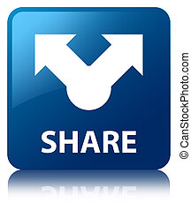 Share glossy blue reflected square button