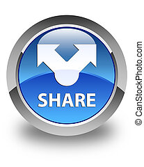 Share glossy blue round button