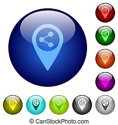 Share GPS map location color glass buttons