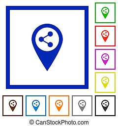 Share GPS map location flat framed icons