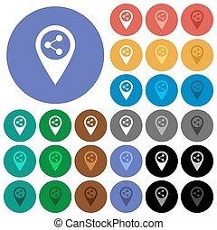 Share GPS map location round flat multi colored icons