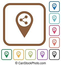 Share GPS map location simple icons