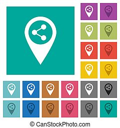 Share GPS map location square flat multi colored icons