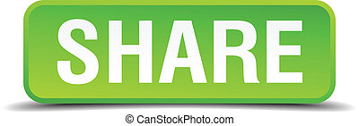 Share green 3d realistic square isolated button