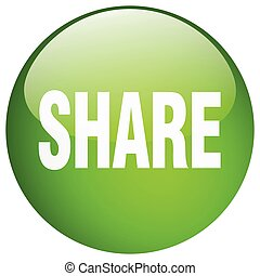 share green round gel isolated push button