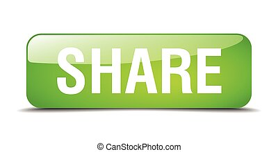 share green square 3d realistic isolated web button