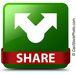 Share green square button red ribbon in middle