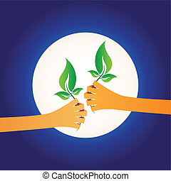 vector illustration of two hands giving each other green plants, world protection concept on night background