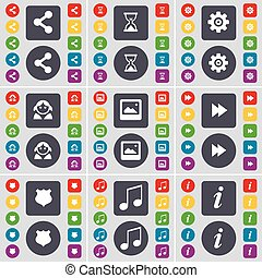 Share, Hourglass, Gear, Avatar, Window, Rewind, Police badge, Note, Information icon symbol. A large set of flat, colored buttons for your design. Vector