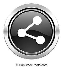 share icon, black chrome button