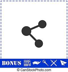Share icon flat. Simple vector symbol and bonus icon