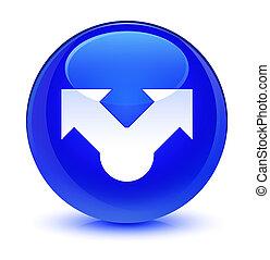 Share icon glassy blue round button