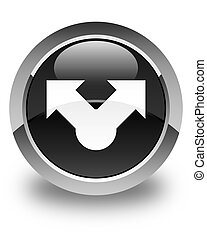 Share icon glossy black round button