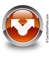 Share icon glossy brown round button